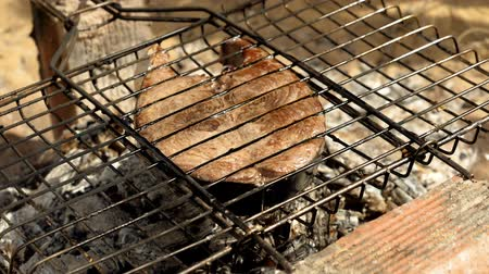 atum : Close-up shot of cooking fish. Baking and roasting marinated fish on barbecue grill. Tuna grilled over charcoal. Slow motion. HD