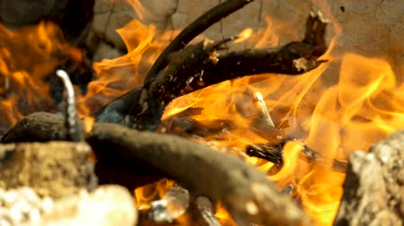 piknik : Campfire. Open fire with firewood made outdoors by people who are camping. Greece. Slow motion. HD Wideo