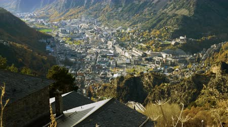 hamlet : View of Andorra La Vella - capital of Andorra located in the Pyrenees mountains between France and Spain. 4K