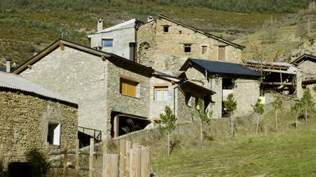 hamlet : Architecture of Andorra. The exterior of an old stone houses. 4K Stock Footage