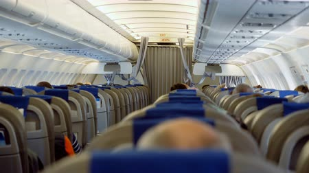 attendant : The interior of the aircraft. Rows of seats on the plane with passengers on board. 4K
