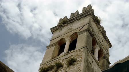 세기 : Top of an ancient tower against the blue sky. Corfu. Greece. 4K 무비클립