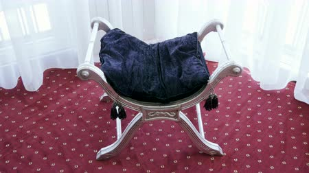 camurça : Elegant vintage chair with velvet cushion. 4K