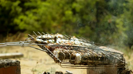 makrela : Mackerel, perch, sea bass, dorado, mullet, tuna. Close-up shot of fish grilled over charcoal. 4K