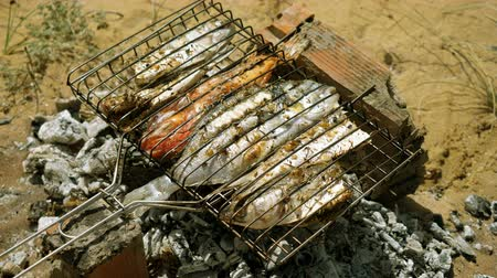 サバ : Mackerel, perch, sea bass, dorado, mullet, tuna. Close-up shot of fish grilled over charcoal. 4K