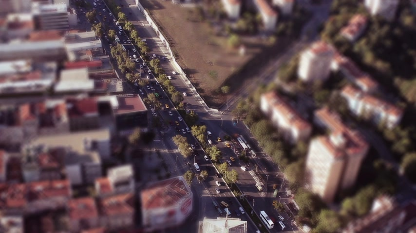 Tilt Shift juguete ciudad Archivo de Video