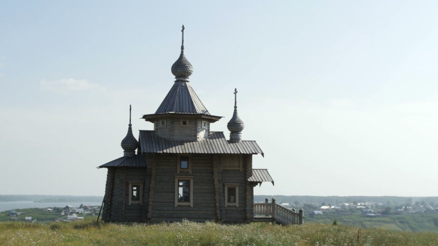 arctica : An Orthodox Wooden Church in Ruyan, Russia Stock Footage