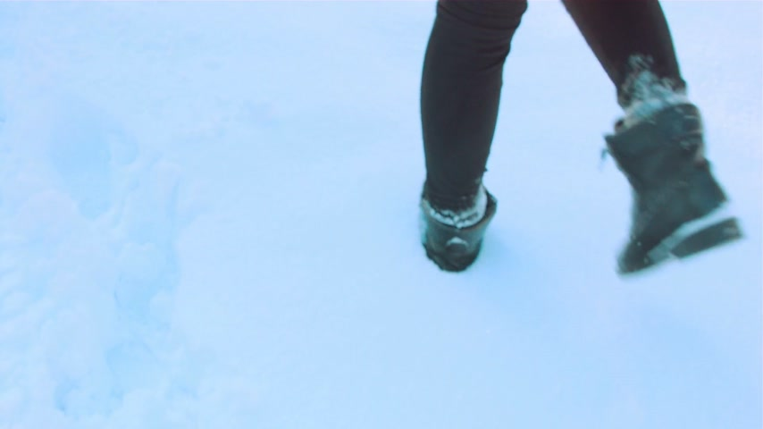 snowfield : Woman walking in the snow Stock Footage
