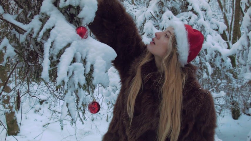 snowfield : Woman decorating a tree outdoors Stock Footage