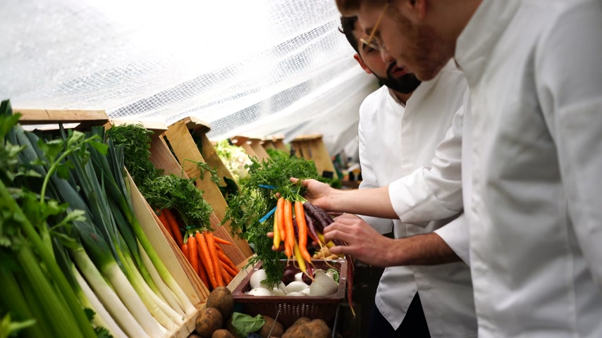 leeks : Two chefs checking for food ingredients