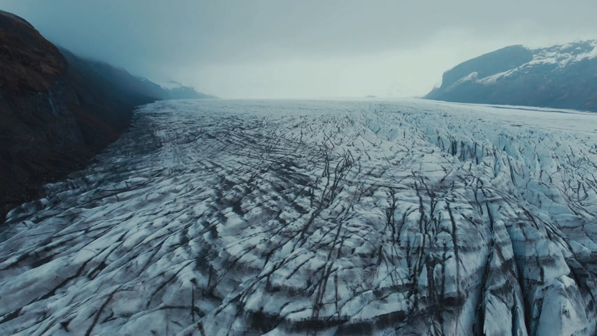 rural area : Flying above glacier in Iceland Stock Footage