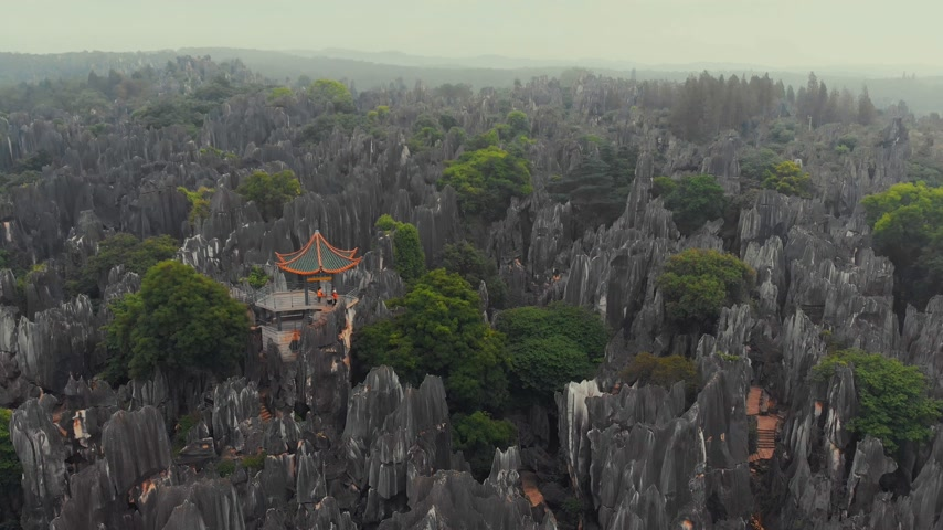 rural area : Flying over the Stone Forest in Kunming, Yunnan