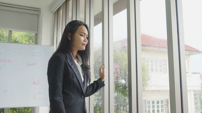 Asian business female success in work and shake hand with partners Wideo