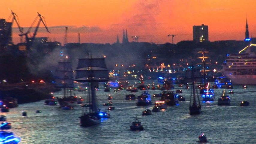 atividades : Germany - Hamburg Port Celebrates 823rd Birthday - Festival with a party and ships parade - Celebrations and events Stock Footage