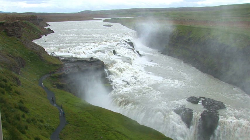 arctique : Islande - Cercle d'Or - Gullfoss - Golden Falls - Destination Travel Europe Vidéos Libres De Droits