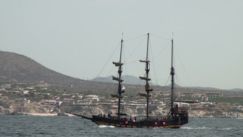 cabo san lucas : Nautical vessel - Pirate sail ship - Brigantine - Cabo San Lucas - Mexico - Video high definition