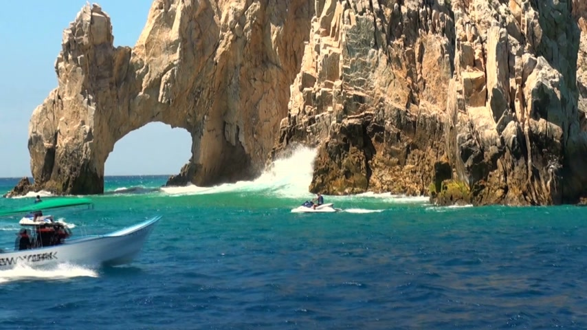 tourism : Mexico - Cabo San Lucas - Rocks and beaches - El Arco de Cabo San Lucas - Travel Destination - North America Stock Footage