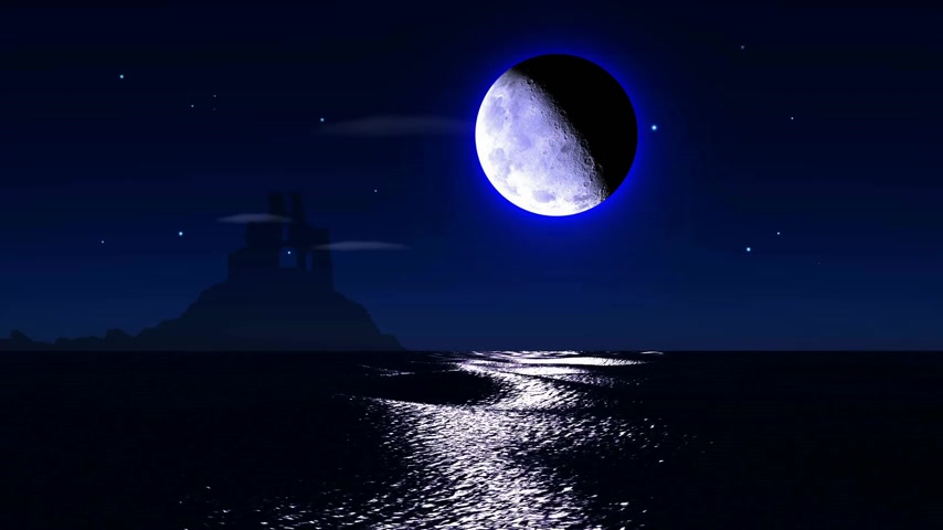 horizonte sobre a água : Big realistic moon over calm surface of ocean. Stars glittering, clouds passing by and a castle ruin in a distance Stock Footage