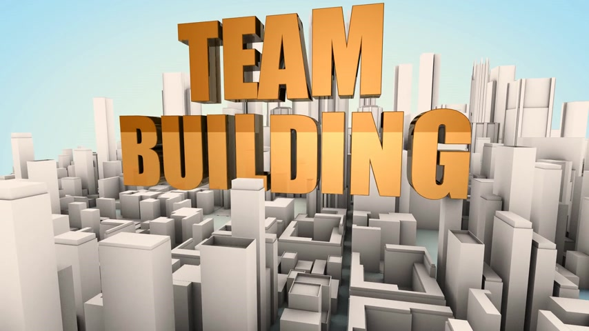 sucesso : Team building conceptual motion background: business abstract composition with 3d buildings and text floating and rotating in 3d space. 3d rendering.