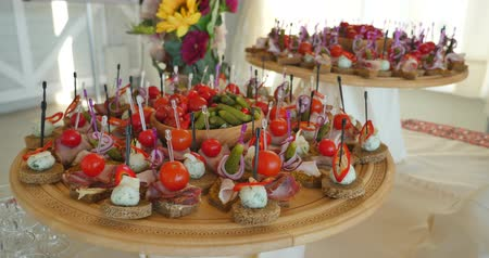 appetizers : Assortment of canapes. Banquet service.
