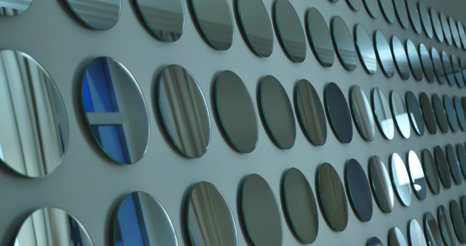 obsessive : wall with many round mirrors Stock Footage