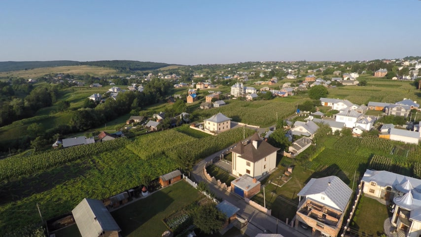 yerleşim : Aerial view of the Ukraine village. drone view. Stok Video