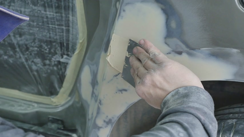repaint : Auto body repair series : Working on putty