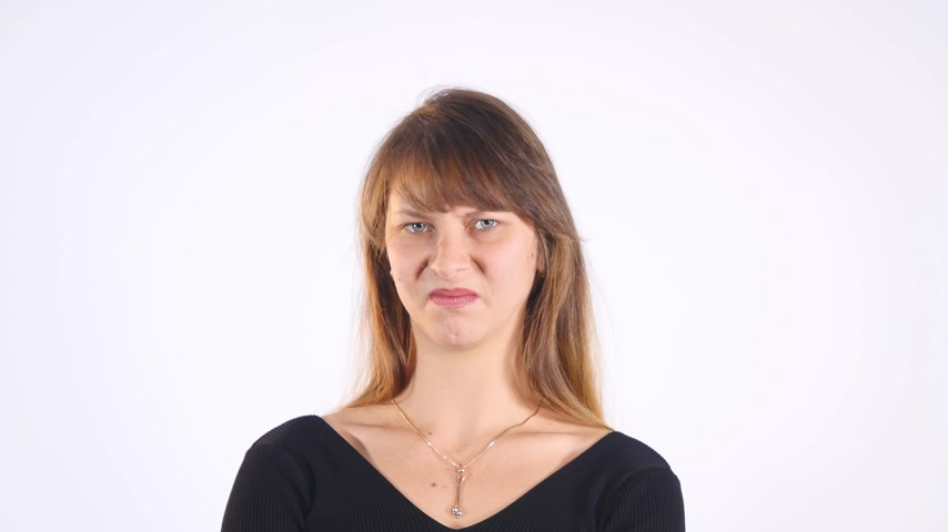 smell : young woman, disgust on face, pinches nose looks funny, something stinks, very bad smell, situation, isolated white background. Negative emotion, facial expression, feeling reaction