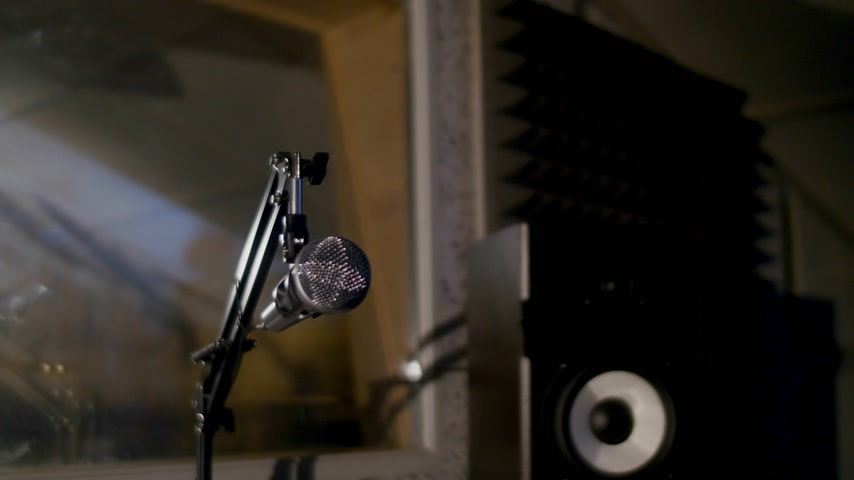 kayıt : Microphone on a stand located in a music studio recording booth under low key light