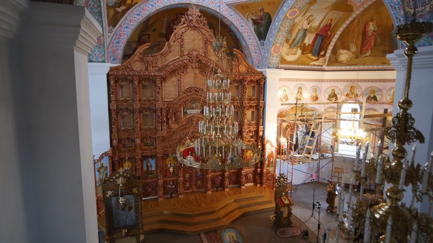 iconography : 30.01.2018, Chernivtsi, Ukraine - Orthodox church interior Stock Footage