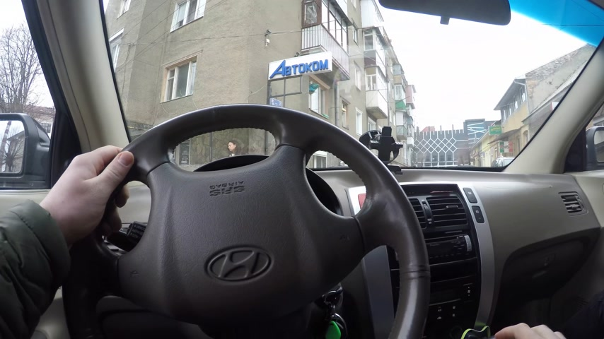 2018.03.28 - Chernivtsi, Ukaine. driver rides the cars. The young man behind the wheel POV