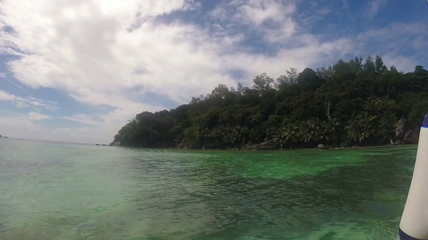 mahe : View from small boat during arrival at moyenne island (Marine national park) in the seychelles.