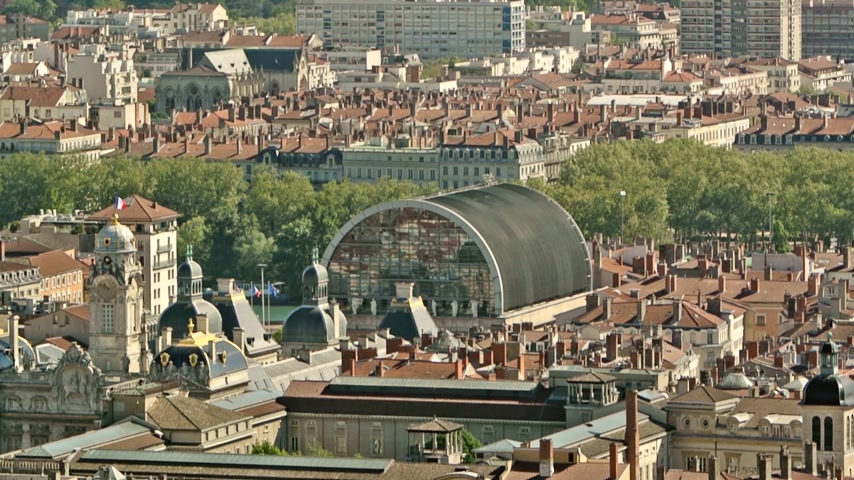 reconstructed : Opera National de Lyon as seen from the Fourviere hill. Featuring  neoclassical architecture and statues mixed with modern dome roof