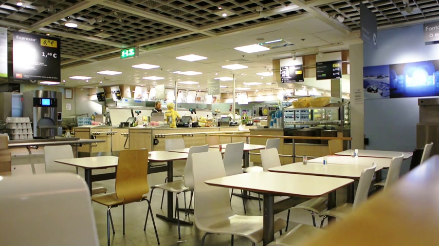 food court : PARIS, FRANCE - NOVEMBER 02, 2014:  Interior of modern cafeteria restaurant in IKEA Store.  Every IKEA store has a restaurant for traditional Swedish food, including potatoes with Swedish meatballs