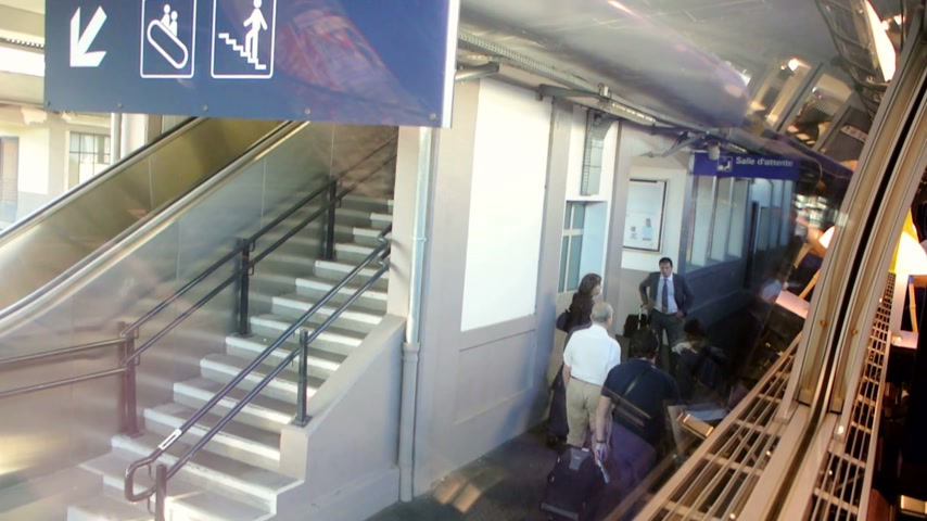 verifying : AIX-EN-PROVENCE, FRANCE - JULY 22:, 2014 Aix-en-Provence TGV railway station with passengers boarding on train - shot from inside the train Stock Footage