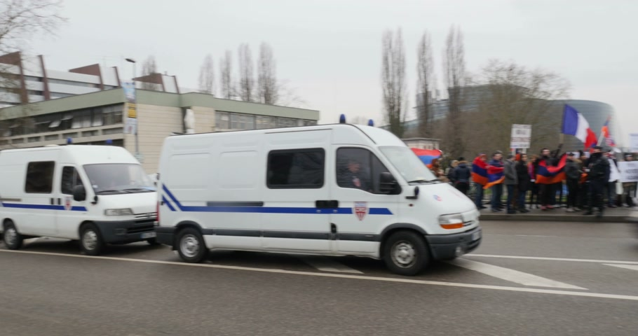 european court of human rights : STRASBOURG, FRANCE - 28 JAN 2015 Armenian diaspora demonstrates near European Court of HR before the Perincek vs. Switzerland case begin. Armenian government was represented by Amal Clooney Stock Footage