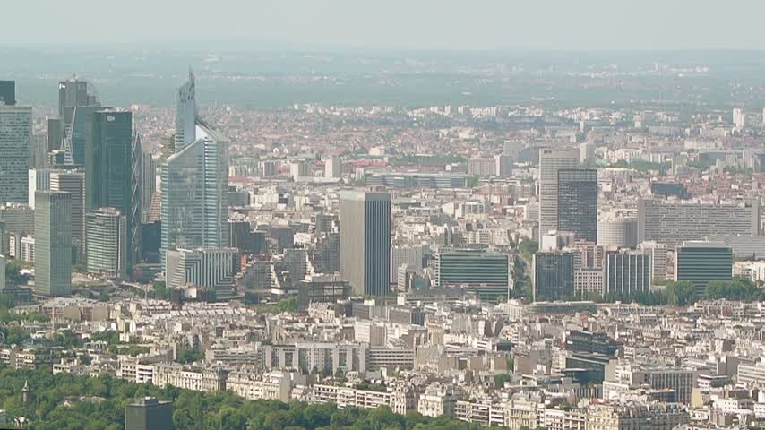 ing : Aerial High-rise office buildings, La Defense corporate financial business district - Paris, France. La Defense is Europes largest purpose-built business district with Important corporations headquartered
