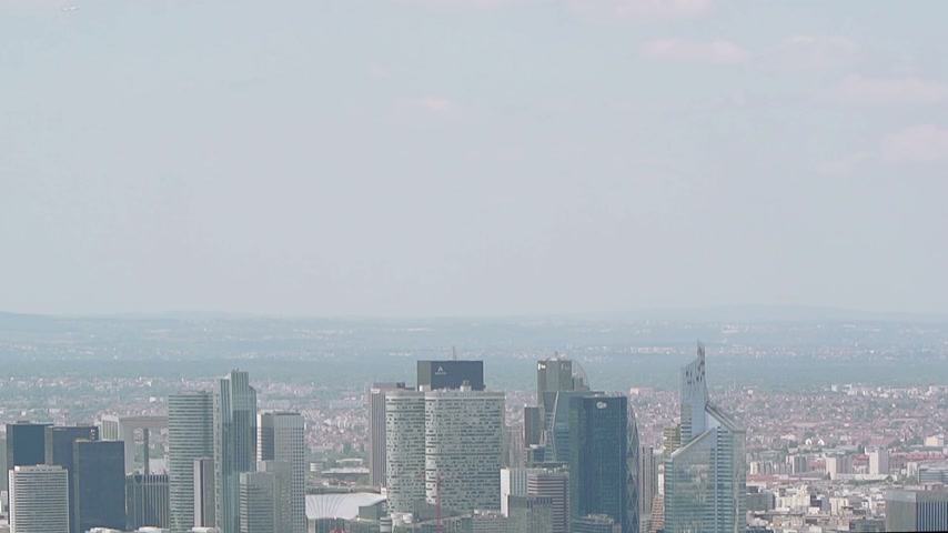 arche : Aerial office buildings, La Defense corporate financial business district - Paris, France. La Defense is Europes largest purpose-built business district with Important corporations headquartered Stock Footage