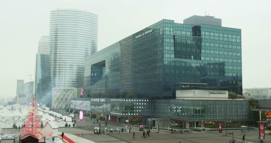 arche : PARIS, FRANCE - CIRCA JAN., 2015: Elysees La Defense office and mall building and EDF - Electricite de France in La Defense, Paris Stock Footage