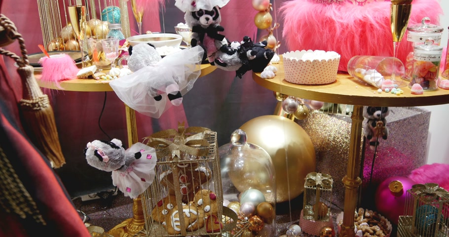 lafayette : STRASBOURG, FRANCE - CIRCA DEC 2014: Windows in Galeries Lafayette store decorated with traditional Christmas themes toys The iconic store in Strasbourg continues to carry on the holiday tradition for the magic  time of Christmas. Stock Footage