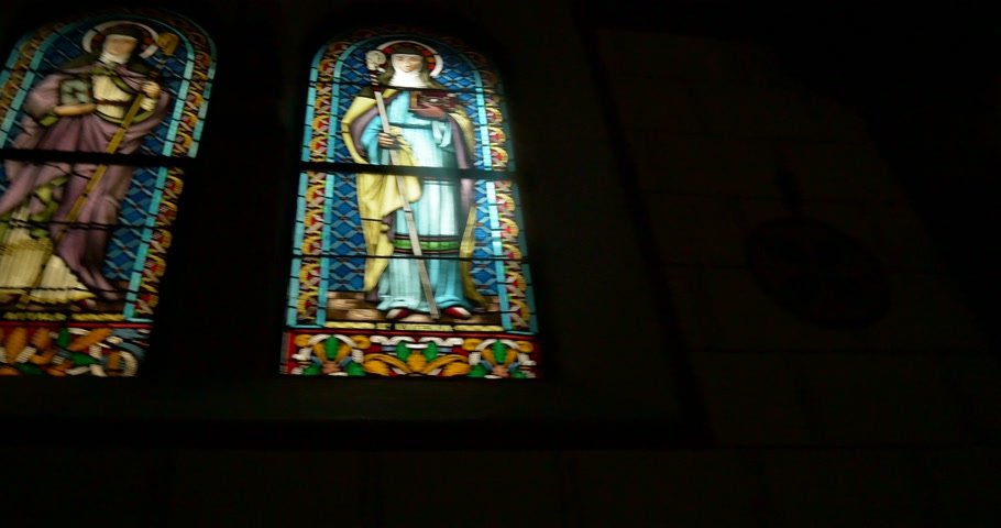 pinturas : EGUISHEIM FRANCE  CIRCA 2015:  Stained glass of Saint Evgenia and Saint Attala at Leo chapel where relics of Pope St Leo IX are conserved