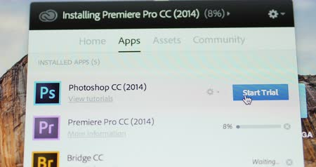 photoshop : LONDON UNITED KINGDOM  CIRCA 2015: Starting Adobe Photoshop CC software in trial mode. In Creative Cloud a monthly or annual subscription service is delivered over the Internet. Stock Footage