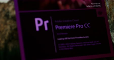 imagem digital gerada : LONDON UNITED KINGDOM  CIRCA 2015: Focusing to Adobe Premiere CC software starting screen. In Creative Cloud a monthly or annual subscription service is delivered over the Internet. Vídeos
