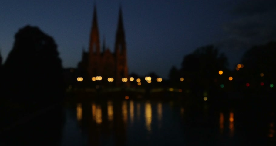 catedral : View from south at dusk of the silhouette of the St. Pauls Church of Strasbourg, Alsace, France Stock Footage