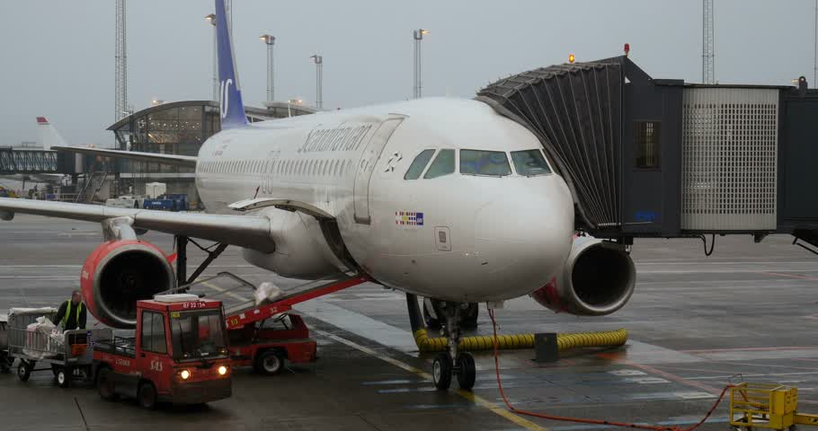 ремень : COPENHAGEN DENMARK  CIRCA 2015: Ground crew member loading luggage to conveyor belt in commercial jet aircraft Стоковые видеозаписи