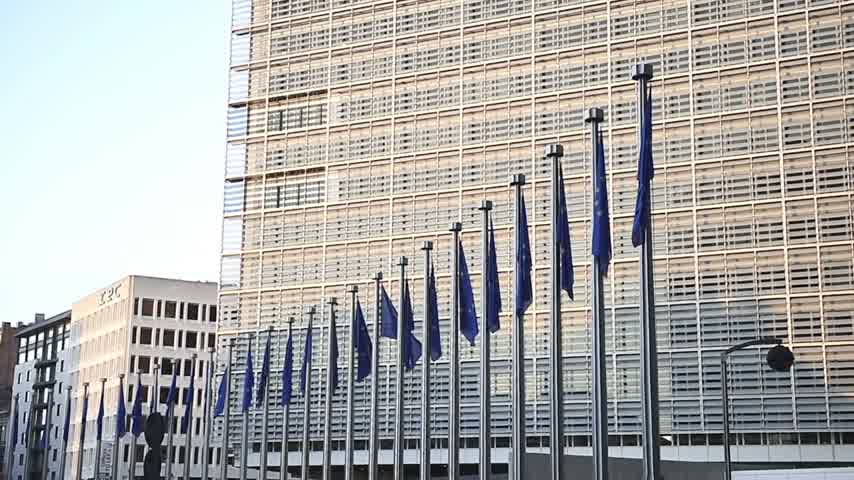 funcionários : European Union flags in front of the Berlaymont building of the European Commission in Brussels, Belgium
