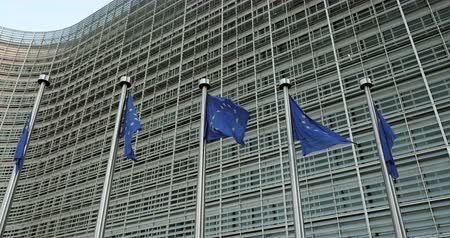 funcionários : Panning over waving Flags of European Union in front of the office windows of the Berlaymont building of the European Commission in Brussels, Belgium Stock Footage