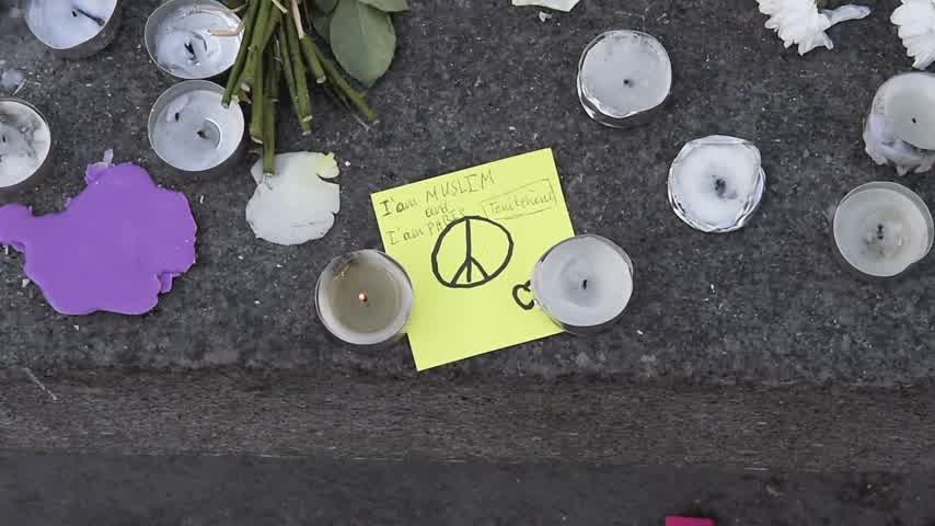 preguiça : STRASBOURG, FRANCE - NOV 16, 2015: Panning to I am Muslim and I am Paris - Messages, candles and flowers are left around General Kleber statue in memorial for the victims of the Paris Attacks.