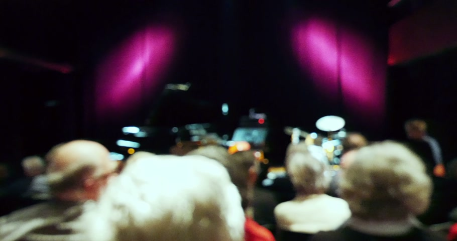 groupe : Defocused view of people waiting for musical concert performance to begin speaking on diverse languages Stock Footage
