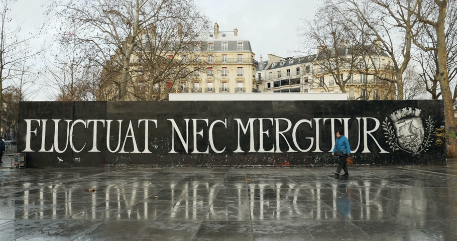 alegorie : PARIS, FRANCE - CIRCA 2016: Timelapse with people in front of the Fluctuat Nec Mergitur Tossed but not sunk motto of Paris in Place de la Republique Republic square drawn in support of the victims after terrorist attack on November 13 2015 in Paris, Fra Dostupné videozáznamy